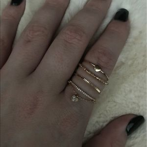 Gold-Tone Plated Pavé & Heart Rings - Set of 4